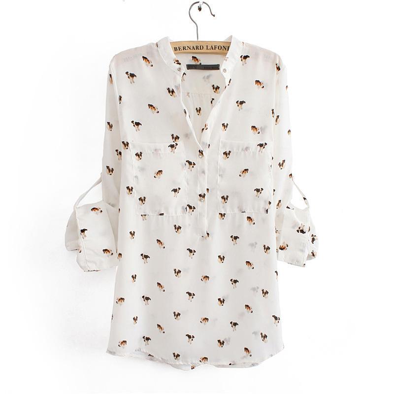 2014 Fashion dogs chiffon shirt collarless loose chiffon animal print shirt S M L Free Shipping(China (Mainland))