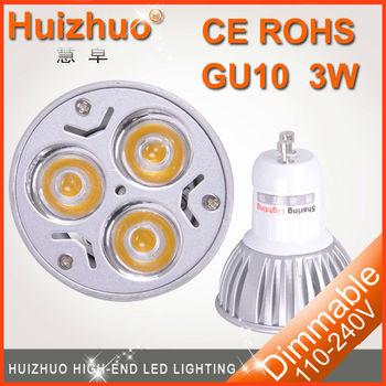 [Huizhuo lighting]Free shipping non dimmable GU10 3W high power led spotlight 3w gu10 spotlight led spotlight