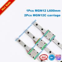 Free Shipping MGN12 12mm linear rail 1 set MR12 MGN12-600mm miniature linear slide = 1pcs 12mm L-600mm rail+2pcs MGN12C carriage