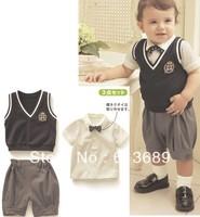 Free Shipping&5pcs/lot!summer 2013 cotton,5 size,the overalls,clothes 3 pieces,boys sweater vest kids,kids vest clothes,