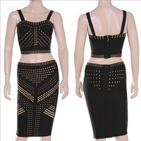 Sexy Ladies's bandage dress beaded  2 pcs top and skirt dress