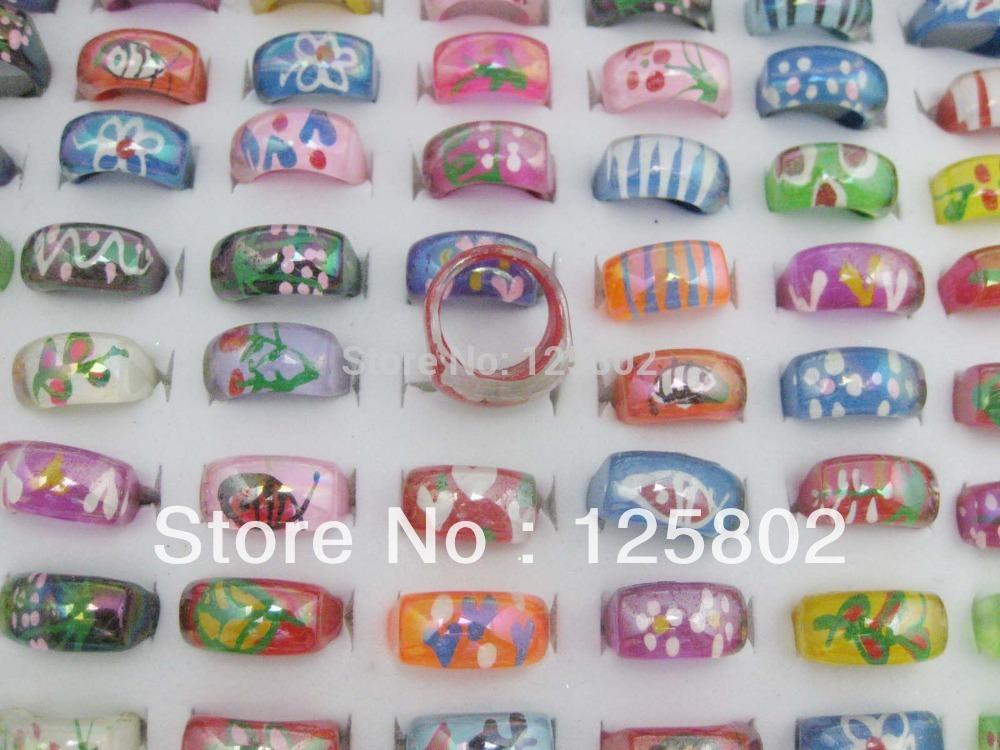 FR006 decorative fingerring 5pcs randomly resin rings finger children finger ring(China (Mainland))