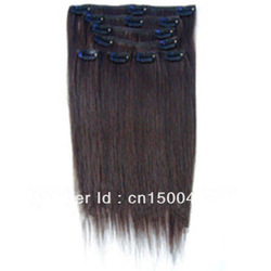 Hot !!! great quality wholesale price full head Brazilian clip in hair extension(China (Mainland))