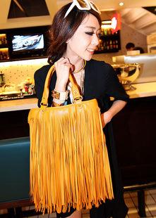 2015 New Women's Fashion Punk Tassel Fringe Fashion PU Leather Handbag Shoulder Bag Tote Bag in Stock