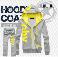2013  New Arrived Hoodies for Men Leisure Men's Sports Suit Jacket +Trousers Hoodies with Printing Letters Free Shipping A073