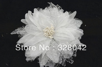 EMS Free 5.5'' chiffon silk fabric peony flower hairpin Bride wedding pearl flower brooch hair accesories 100pcs/lot