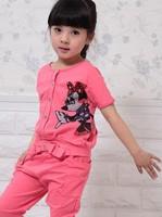 Free shipping 2013 new korean girl clothing,korean children clothing wholesale,girl summer clothing set,Both sides of wear