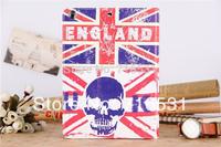 Trend Tower of London Bone skull head Eiffel Tower Leather case for Ipad 2/3/4