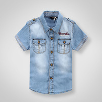 Free shpping 2013 Kids Spring cotton denim shirts boys cowboy shirts short sleeve turn-down collar shirts