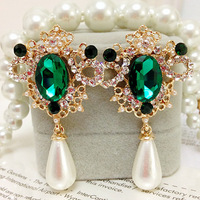 HOT Free shipping new arrival 117 - 6 fashion accessories peacock royal carved pearl earrings drop earring earrings