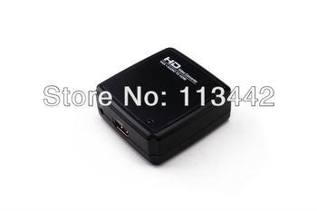 Free shipping high quality 3.5mm Laptop PC VGA Audio to HDMI HDTV  1080p AV Mini Converter Box V2HD02 hot sale New arrival
