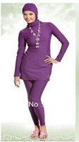2013 fashion Piece muslim swimwear purple full coverage  good quality and fashion style of islamic swimsuit for women