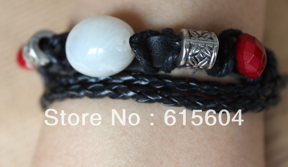 B-207/2013 Bracelet Hand made Braided PU Leather Bracelet Natural stone Bracelet metal ring Wholesales(China (Mainland))