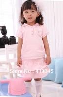 Free Shipping Baby Girls Angel Wings Pink Dress  Hoodies Top +-Ruffle Falbala Bow Layered Dress 1150