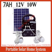 2013New 10W/7AH/12V DC Solar Power System for home use.portable solar home system built in controller
