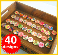 Free Shipping 30MM Floral Painted Wood Buttons 40 Designs mixed 100pcs/lot Decoration Wooden Buttons B2013210
