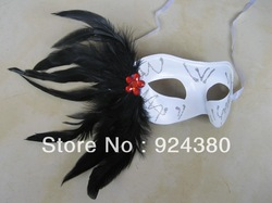 Quality white mask black feather mask masquerade mask italian mask(China (Mainland))