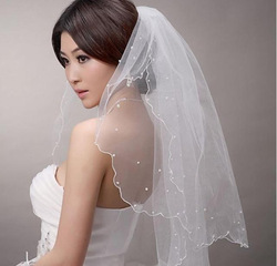 Free Shipping Promotion Price 1.5M Pearls Two Layers White Wedding Bridal Veil Bridal Accessories Cathedral Cheap Wholesale PH16(China (Mainland))