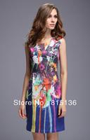 Free shipping 2014 runway spring and summer women fashion geometric patterns graphic print slim sleeveless one-piece dress