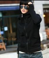 2013 fashion Women Spring hoodies High Neck hooded fleece set sweatshirt hoodie outerwear