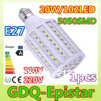 Free shipping 1pcs 20W E14 E27 B22 102LED 5050 SMD110V/220V Corn Bulb Light Maize Lamp LED Light Bulb Lighting White/Warm White