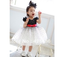 2013 new Korean design new style princess dress black and white models so beautiful girls summer dress free shipping