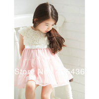 2013 new girls flowers dress 2 colors sleeveless yarn dress hot selling girls fashion party dress summer dress