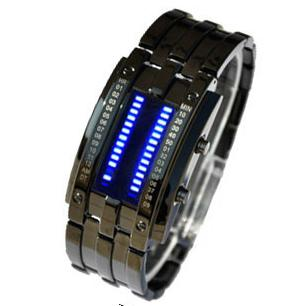 1pcs/lot Freeshipping wholesale military watch,led digital movement Blue led watches men alloy metal band/case(China (Mainland))