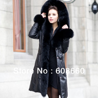 2013 new free shipping women top white duck down genuine sheepskin coat female big size long design coat with big fox fur collar