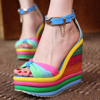 2014 rainbow sandals block decoration platform shoes ultra high heels open toe wedges free shipping good quality