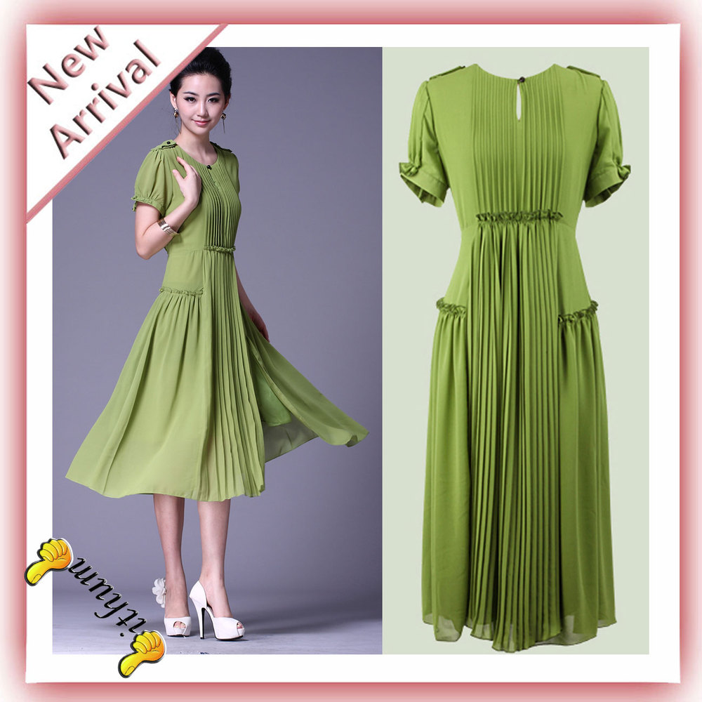2013 Milan Fashion Week Ladies Short Sleeve Long Green Chiffon Dress Draped Kick Pleat Celebrity Dresses Free Shipping(China (Mainland))