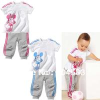 (5set/lot)Free shipping Summer cartoon T-shirt+pants twinset fashion mouse pattern minnie cotton babywear hotsale