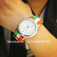 The trend of fashion multicolour fashion vintage colored ribbon canvas belt large dial men and women watches
