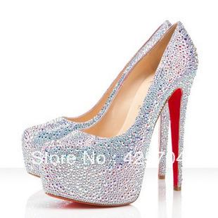 Sparkling rhinestone wedding shoes genuine leather wedding shoes crystal high-heeled shoes platform wedding shoes white bridal