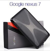 Transparent Jelly X-line TPU Gel Soft  Back Cover Case for Google Nexus 7 With Multi-color Free shipping