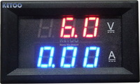 YB27VA DC 0-100V/50A Digital Ammeter Voltmeter 2-in-1 Digital Voltage Amp Volt Meter Red/Blue LED Dual Color Display