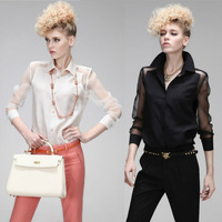 New Lady Casual Lapel Collar Sexy Sheer Chiffon Long Sleeve Womens Shirt Tops Blouses #1002