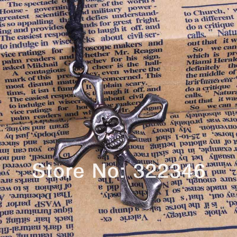 2013 New Indian Statement Necklace For Men Cool Antique Silver Plated Skull Jewelry Punk Necklace Gothic Jewelry Cross Necklace(China (Mainland))