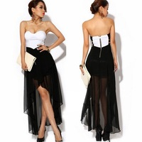 Free shipping Sexy Women Asymmetric Zipper Cocktail Party Evening Strapless Dress D0009