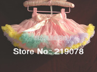 20pcs/lot Girls pink with multicolour ruffly chiffon pettiskirt children tutu skirt  kids pettiskirt 5pcs/lot Free shipping