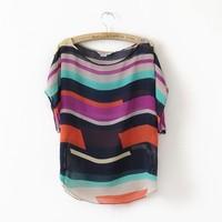 Plus Size XXXL Chiffon Irregular Striped T Shirt Women Clothing Loose Tops Summer 2014 New Short Sleeve O-neck Blusas