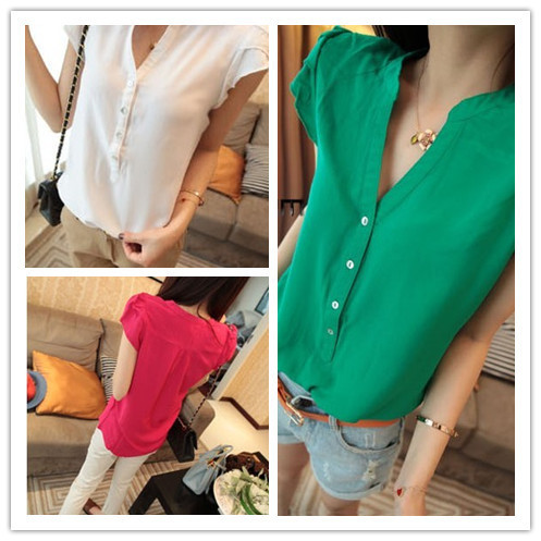 New 2014 Hot Sale Fashion Women Imitated Silk Fabric Short Sleeve T-Shirt Solid Color Chiffon Blouse Tops Shirt WF-085(China (Mainland))