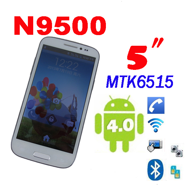 "by dhl or ems 10 pieces Cheapest 5"" N9500 phone android 4.0 MTK6515 9500 dual sim dual Cameras Bluetooth(China (Mainland))"