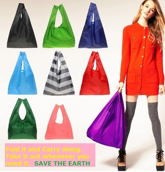 High Quality Eco Friendly Shopping Storage Folding Travel Supermarket Recycle Plastic Nylon Fashion Causal Bag HK6041