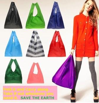 High Quality Eco Friendly Shopping Storage Folding Travel Supermarket Recycle Plastic Nylon Fashion Causal Bag HK6041