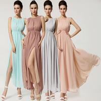 New Design European Dress 2014 Summer Beach Dress Open Fork Backless High Quality Sexy Chiffon Ladies' Dress 8086#