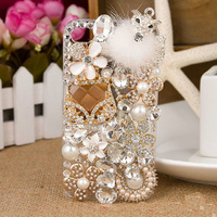 Luxurious Rhinestone Case  for Apple iphone 4 4s  5 5s  Crystal drill shell Fox Sachet  mobile phone cases wholesale