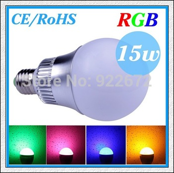 1PCS/LOT CREE 9W 15W E27 (B22 /GU10/E14) RGB Led Lamp Bulb AC85-265V CE/RoHS 16 Colors Changing with Remote,Free Shipping