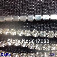 SS8  10yard/lot Promotion Rhinestone chain Crystal clear rhinestone Silver base excellent quality (densify claw)