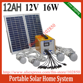 Free Shipping by FedEx ,16W/12AH/12V DC Portable Solar Power System,Solar power solution kits for home use,built in controller